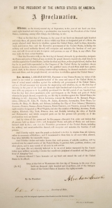 A digitized image of the Penn Libraries' copy of the Emancipation Proclamation.