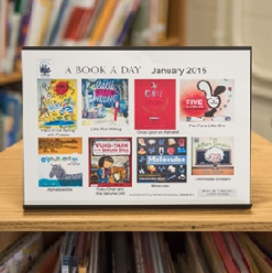 "Books given to the Lea School and Penn Alexander in January through ""A Book A Day"" include ""Little Red Writing,""  ""Molecules,"" and ""Alphabeasties."""