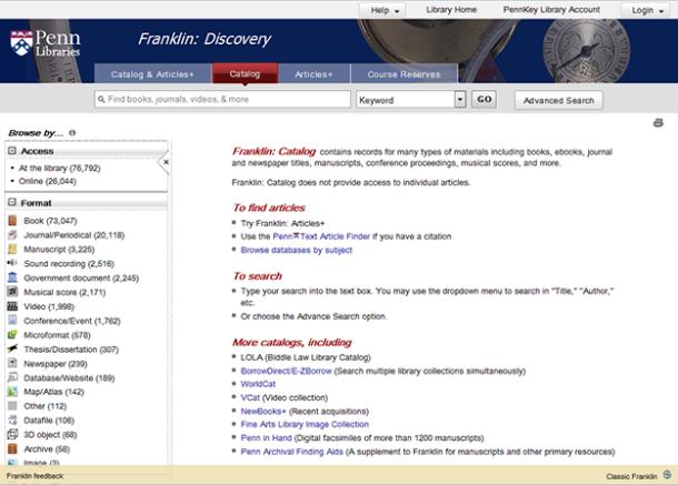 Franklin: Catalog tab
