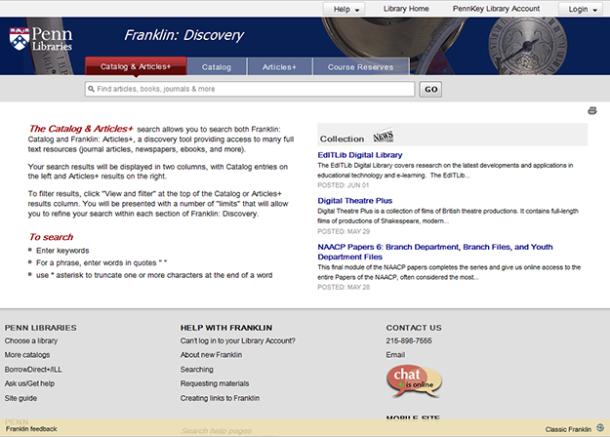 Franklin: Catalog & Articles+ tab