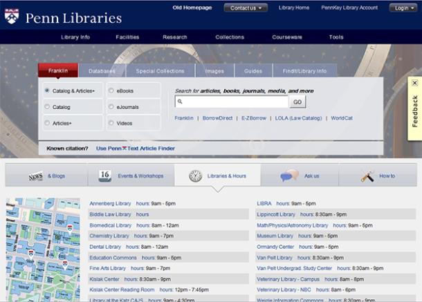 Libraries homepage - Franklin tab