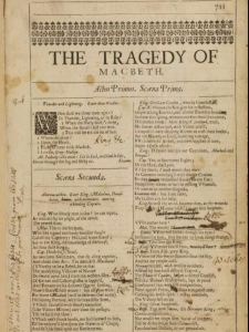 Macbeth, 1663, prompt book