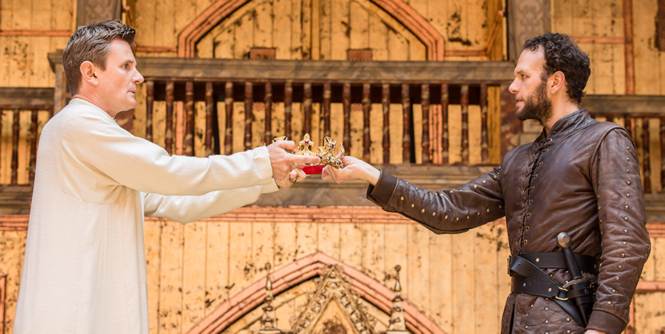 Screen still from the Globe's production of Richard II
